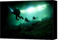 Cavern Canvas Prints - Cavern Divers Enter Cenote System Canvas Print by Karen Doody