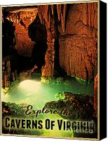 Cavern Canvas Prints - Caverns Of Virginia Canvas Print by Vintage Poster Designs