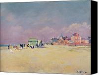 Beach Scenes Canvas Prints - Cayeux sur Mer Canvas Print by Jules Ernest Renoux