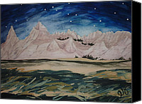 Estephy Sabin Figueroa Painting Canvas Prints - Cedar Pass by Starlight Canvas Print by Estephy Sabin Figueroa