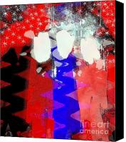 4th July Mixed Media Canvas Prints - Celebration 3 Canvas Print by Mimo Krouzian
