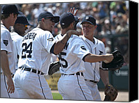 Detroit Tigers Art Canvas Prints - Celebration Canvas Print by Cindy Lindow