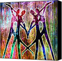 Couples Digital Art Canvas Prints - Celebration Canvas Print by Jaison Cianelli