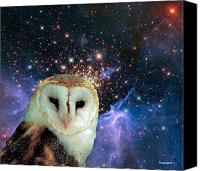 Barn Digital Art Canvas Prints - Celestial Nights Canvas Print by Robert Orinski
