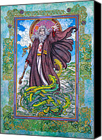 Jim Fitzpatrick Canvas Prints - Celtic Irish Christian Art - St. Patrick Canvas Print by Jim FitzPatrick