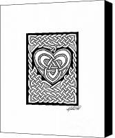 Engagement Drawings Canvas Prints - Celtic Knotwork Heart Canvas Print by Kristen Fox