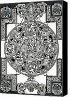 Historical Drawings Canvas Prints - Celtic Tapestry drawing Canvas Print by Morgan Fitzsimons