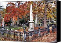 Autumn Photographs Canvas Prints - Cemetery scenery Canvas Print by Janice Drew
