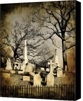 Spooky Digital Art Canvas Prints - Cemetery Shades Canvas Print by Gothicolors With Crows