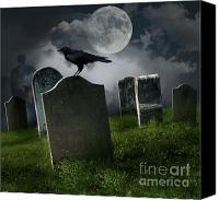 Graveyard Canvas Prints - Cemetery with old gravestones and moon Canvas Print by Sandra Cunningham