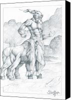 Centaur Drawings Canvas Prints - Centaur 3 Canvas Print by Curtiss Shaffer