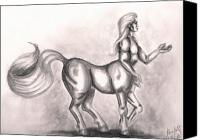 Centaur Drawings Canvas Prints - Centaur Canvas Print by Scarlett Royal