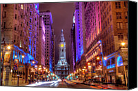 Night Photo Canvas Prints - Center City Philadelphia Canvas Print by Eric Bowers Photo
