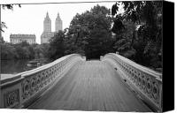 Lake Canvas Prints - Central Park Bow Bridge with The San Remo Canvas Print by Christopher Kirby