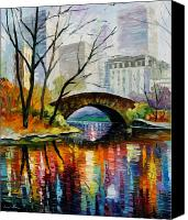 American Canvas Prints - Central Park Canvas Print by Leonid Afremov