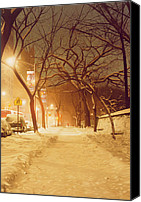 Snowy Trees Painting Canvas Prints - Central Park Nocturnal Snow II Canvas Print by Max Ferguson