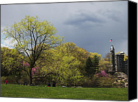 Belvedere Castle Canvas Prints - Central Park Spring Greens Canvas Print by Cornelis Verwaal