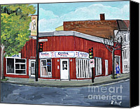Montreal Restaurants Canvas Prints - Centre Pizza Verdun Canvas Print by Reb Frost