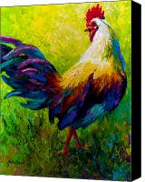 Farm Tapestries Textiles Canvas Prints - CEO Of The Ranch - Rooster Canvas Print by Marion Rose
