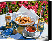 Beer Canvas Prints - Cervezas y Nachos - Coronas with Nachos Canvas Print by Steve Simon