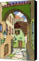Old Buildings Canvas Prints - Cesky Krumlov Masna Street Canvas Print by Yuriy  Shevchuk