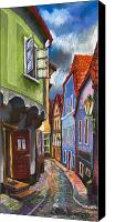 Pastel Canvas Prints - Cesky Krumlov Old Street 1 Canvas Print by Yuriy  Shevchuk