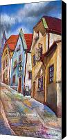 Old Pastels Canvas Prints - Cesky Krumlov Old Street 2 Canvas Print by Yuriy  Shevchuk