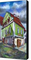Old Pastels Canvas Prints - Cesky Krumlov Old Street 3 Canvas Print by Yuriy  Shevchuk