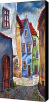 Pastel Canvas Prints - Cesky Krumlov Old Street Canvas Print by Yuriy  Shevchuk