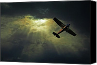 Cloud Glass Canvas Prints - Cessna 172 Airplane Canvas Print by photograph by Anastasiya Fursova