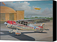 Airplane Painting Canvas Prints - Cessna 195 Canvas Print by Stuart Swartz