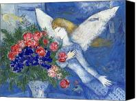 Expressionism Canvas Prints - Chagall Blue Angel Canvas Print by Granger
