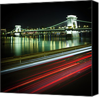 Hungary Canvas Prints - Chain Bridge At Night In Budapest Canvas Print by Mark Whitaker