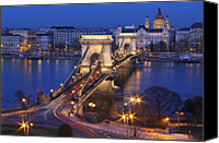 Hungary Canvas Prints - Chain Bridge At Night Canvas Print by Romeo Reidl
