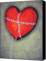 Chains Canvas Prints - Chained Heart Canvas Print by Jeff Kolker