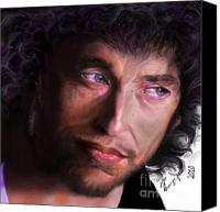 Singer Painting Canvas Prints - Chained to the Sky -  Bob Dylan  Canvas Print by Reggie Duffie