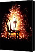 Celebrations Canvas Prints - Chair and horn with fireworks Canvas Print by Garry Gay