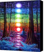 Rainbow Tapestries Textiles Canvas Prints - Chakra Meditation in the Redwoods Canvas Print by Laura Iverson