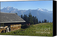 Alp Canvas Prints - Chalet in the swiss alps Bettmeralp Switzerland Canvas Print by Matthias Hauser