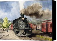 Train Painting Canvas Prints - Chama Arrival Canvas Print by Sam Sidders