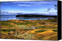 Golf Course Canvas Prints - Chambers Bay Golf Course Canvas Print by David Patterson