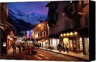 Snowboard Canvas Prints - Chamonix town in the shadow of Mont Blanc in the French Alps Canvas Print by Pierre Leclerc