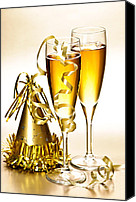Ribbons Canvas Prints - Champagne and New Years party decorations Canvas Print by Elena Elisseeva