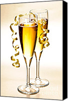 Ribbons Canvas Prints - Champagne glasses Canvas Print by Elena Elisseeva