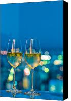 Nightclub Canvas Prints - Champagne glasses in front of a window Canvas Print by Ulrich Schade