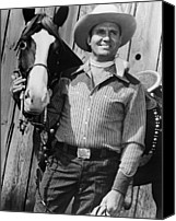 Cowboy Hat Canvas Prints - Champion And Gene Autry Canvas Print by Everett