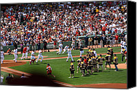 Mlb Photo Canvas Prints - Champions Congratulating Champions Canvas Print by Greg DeBeck