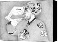 Sports Drawings Canvas Prints - Championship Goalie Canvas Print by Kiyana Smith