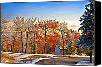 Sheds Canvas Prints - Change of Seasons Canvas Print by Lois Bryan