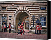 Buckingham Palace Digital Art Canvas Prints - Changing of the Guard Canvas Print by Elaine Snyder
